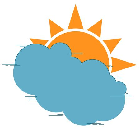Sun icon with rays and clouds. Vector illustration of a weather forecast. Logo and symbol of cloudy weather