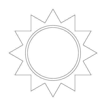 Sun icon with rays thin line. Vector illustration of a weather forecast. Clear weather logo and symbol