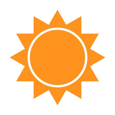Sun icon with rays. Vector illustration of a weather forecast. Clear weather logo and symbol