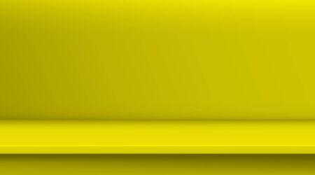 Tabella di vettore di maglia gradiente. Lo sfondo di una tavola vuota di colore giallo vivido, studio room pubblicizza i tuoi prodotti aziendali. Banner di progettazione sul sito Web di contenuti con visualizzazione dello spazio di copia Vettoriali