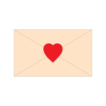 Paper letter, envelope, with red heart shape icon. Love mail message vector illustration. Romance symbol sign. Ilustracja