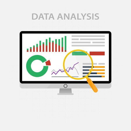 Vector icons and signs for the management and marketing concept of infographic of big data analysis and financial business information research. Digital diagram and graphs of color illustration Illustration
