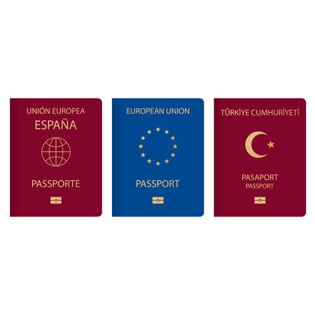 Variation concept of a passport from around the world. A document citizens of Europe Turkey and Spain with logos, symbols the moon and star, a globe and 12 stars in a circle.