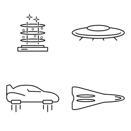 Simple set of transport vector thin line icons. Futuristic flying car machine UFO  airship rocket and teleport portal Archivio Fotografico - 138461754