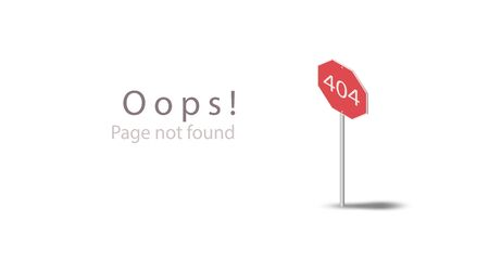 404 Oops! Page not found. Design isometric template for website page. Flat 3d red road icon sign isolated on a white background. Eps10 vector illustration. Can use for web banner