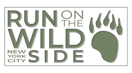 Modern typography and slogan for print on a T-shirt with the inscription: Run On The Wild Side. New York City. Vector illustration with footprint bear. Design concept flyer poster banner and postcard