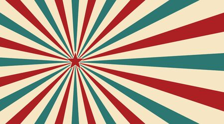 Abstract vintage sunlight of red yellow blue and green flowers background with a star in the center. Carnival circus style for circling animation. Star burst sun beam vector illustration