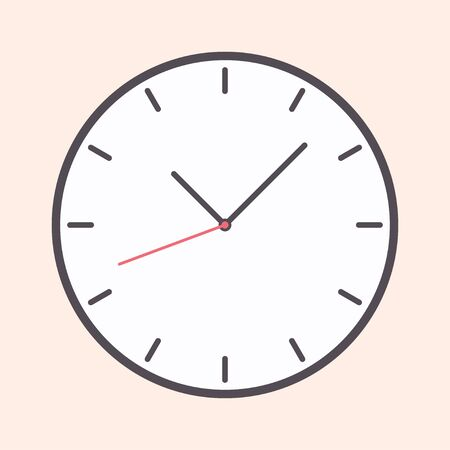 Flat watch clock with arow icon from warm color isolated on background. EPS 10 vector illustration