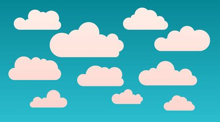 Vector cartoon flat shape clouds set isolated on a blue background. Abstract cloudscape, heaven and sky with warm colors. Template for illustration