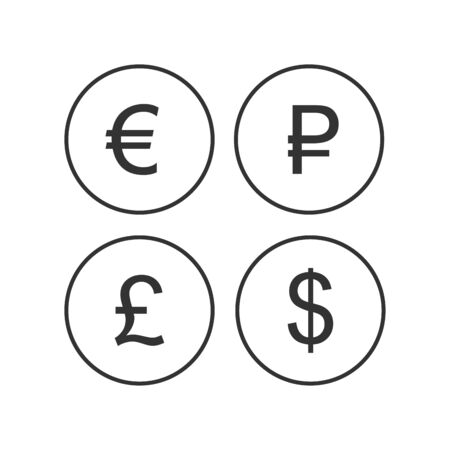 Currency sign, euro, ruble, dollar, pound sterling libra icons isolated on a white background. EUR RUB USD GBP currency abbreviation vector illustration. Money cash sign set Çizim