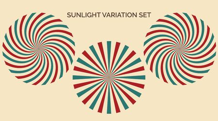 Sunlight variation set. Abstract sunlight red yellow blue and green colors background. Carnival circus style for circling animation. Star burst sun beam vector circle illustration for banner