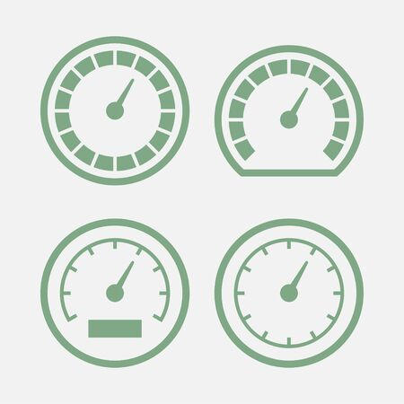 Business credit score. Customer satisfaction indicators levels. Accelerate rating icon illustration. Colorful Info-graphic stock vector Set of logo speedometers gauge dial for web design isolated sign