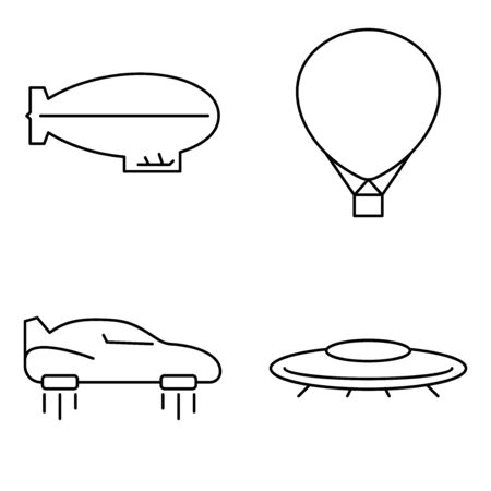 Simple set of transport vector thin line icons. Futuristic flying car machine UFO ballon airplane and airship