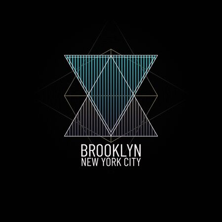 Theme New York City Brooklyn. Geometric minimal t-shirt graphic print illustration. Retro triangle grunge and fashion vintage background. Abstract typography poster banner flyer design. NYC symbol Иллюстрация
