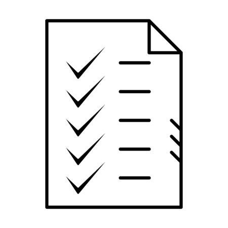 Check list test document paper. Outline approved and correct icon in flat style. Check tick mark as ok symbol of business process compliance concept thin line vector illustration