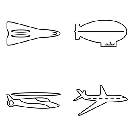 Simple set of public vector thin line icons. Airplane helicopter rocket and airship
