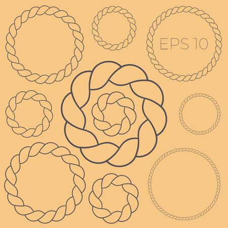 Classic circle frame twisted rope set icon. Outline marine vector illustration. 일러스트