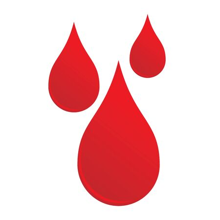 Three drops liquid of red blood shape sign. Vector illustration flat icon of medical health tests and blood sampling. Çizim