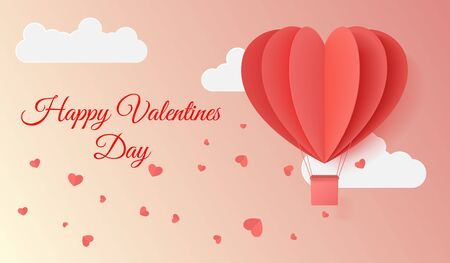 Happy valentines day typography vector illustration design with paper cut red heart shape origami made hot air balloons flying in sky background. Paper art and digital craft style