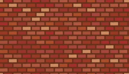 Vector red brick wall background. Old texture urban masonry. Vintage architecture block wallpaper. Retro facade room illustration