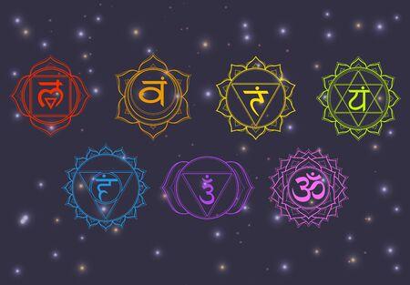 Chakras set: muladhara, swadhisthana, manipura, anahata, vishuddha, ajna, sahasrara. Vector line symbol on a dark sky with shining stars. Om sign on a black background. Vector illustration