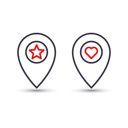 Outline star and heart in pinpoint icon. Favorite pin location gps map marker.