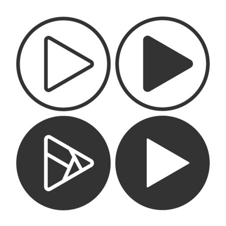 Set play button icons. Music and video forward click shape symbol. Push arrow start player media. EPS 10 Vector illustration Ilustracja