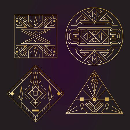 Geometric shape, abstract set of vector deco gold frames. Hipster trendy line style 1920 design. Luxury cover graphic poster brochure design. Elegant logo and icon. Mystery tribal illustration art