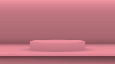Pink ellipse cylinder vector mockup with shadow in studio. 3d minimalist contest pedestal isolated on a background. Podium platform for the item or award winner. Realistic geometric illustration