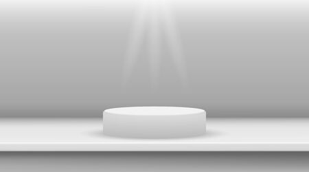 White ellipse cylinder vector mockup with shadow in studio. 3d minimalist contest pedestal isolated on a background. Podium platform for the item or award winner. Realistic geometric illustration