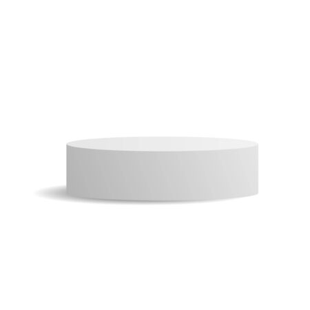 White ellipse cylinder vector mockup with shadow. 3d minimalist contest pedestal isolated on a background. Podium platform for the item or award winner. Realistic geometric illustration Illustration