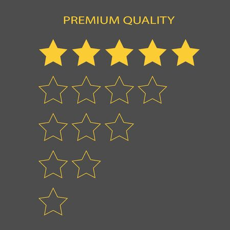 Premium quality 5 gold rating stars. Shapes of five vector rank empty and full stars.