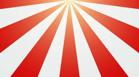 Abstract vintage sunlight of red and white background. Carnival circus tent top view style for circling animation. Star burst sun beam vector illustration.