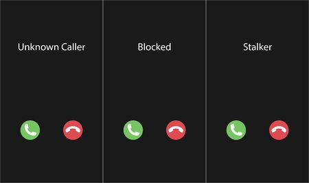 Vector illustration with the inscription: Unknown caller, Blocked, Stalker. Phone interface with two icons accept or reject a call