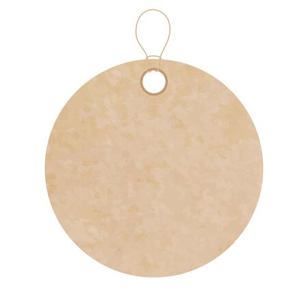 Blank gift tag label for sale prices. Texture of realistic brown yellow kraft carton paper material with a rope. Sticker of different round circle shape
