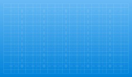 Líneas blancas sobre fondo azul. Rejilla técnica arquitectónica de trazos para el plan. Textura gráfica de papel plano. Patrón de telón de fondo abstracto