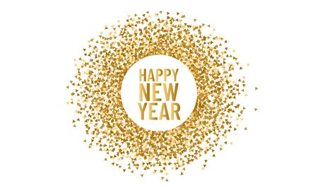 Happy new year. Christmas round frame for copy space 2020. Vector triangle sparkle and glitter background