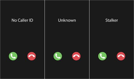 Vector illustration with the inscription: No Caller ID, Unknown, Stalker. Phone interface with two icons accept or reject a call