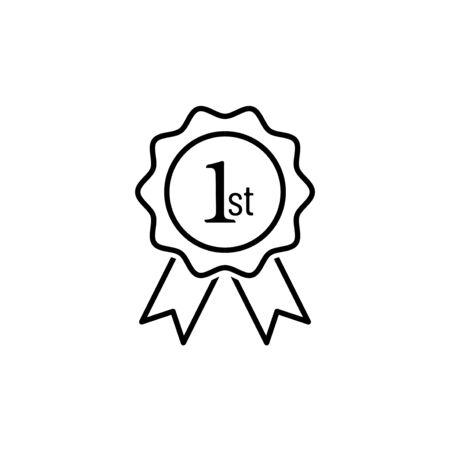 1ère icône de vecteur de contour. Logo de la médaille du prix de la rosette. Gagnez le symbole de la place du prix Logo