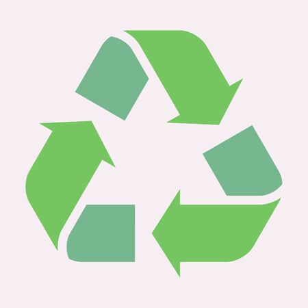 Green recycle arrow icon. Vector sign illustration. Isolated on white background