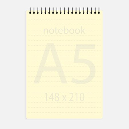 notebook a5 148x210. Realistic yellow blank notepad paper page template with dashed lines. Mockup cover for business memo diary and empty sketchbook with spirals.