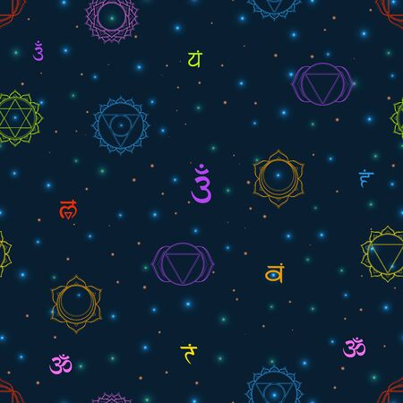 Vector seamless Chakras pattern: muladhara, swadhisthana, manipura, anahata, vishuddha, ajna, sahasrara. Vector line symbol on a dark sky with shining stars. Om sign on a black background