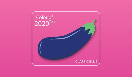 Main color of year 2020 Classic blue. Blue eggplant in a white square on a pink background. Swatch trend color for fashion industry. Vector illustration