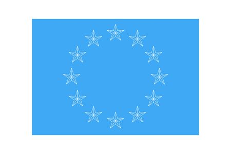 Euro union flag. Vector twelve european outline shapes stars icon isolated on a blue background. EU emblem sky.