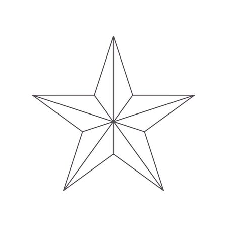Five point thin outline star icon. Geometric figure from the line. Polygonal ideogram religious and ideological symbol sign.