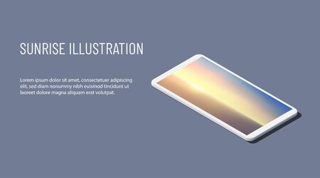 Isometric vector illustration. Realistic white smartphone with aerial panoramic view of sunrise over ocean. 3d model of phone