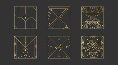 Geometric square shapes, abstract art vector deco frames. Hipster trendy line style 1920 design. Luxury cover graphic poster brochure design. Elegant signs and icons. Mystery tribal illustration art 일러스트