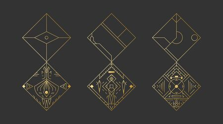 Geometric rhombus shapes, abstract art vector deco frames. Hipster trendy line style 1920 design. Luxury cover graphic poster brochure design. Elegant signs and icons. Mystery tribal illustration art 일러스트
