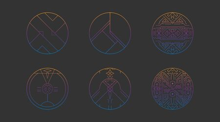 Geometric circles shapes, abstract art vector deco frames. Hipster trendy line style 1920 design. Luxury cover graphic poster brochure design. Elegant signs and icons. Mystery tribal illustration art 일러스트
