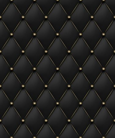 Black matte leather texture seamless pattern. Vip background upholstery rich sofa and luxury sofa. Vector abstract antique illustration. Close-up.